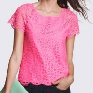 J Crew Paisley Raindrop Lace Hot Pink Blouse Shirt